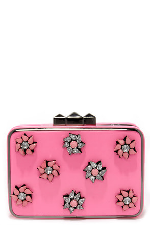 Girly Glam Pink Rhinestone Clutch at Lulus.com!