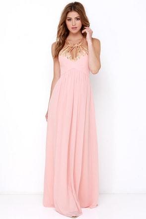Bariano Gala Glam Peach Beaded Maxi Dress at Lulus.com!