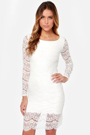 Blaque Label Run the World Ivory Lace Midi Dress