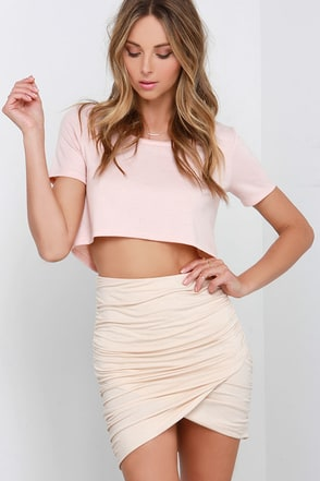 Gather Report Ruched Beige Skirt at Lulus.com!