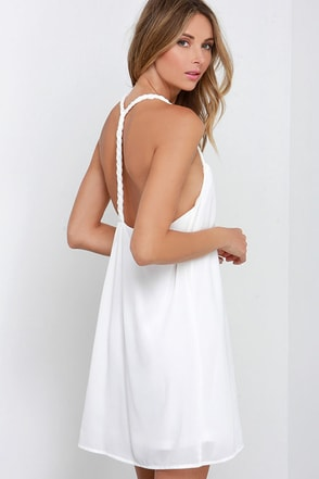 First Rate Plait Ivory Dress at Lulus.com!