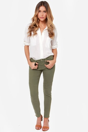 Flying Monkey Moto Maggie Army Green Skinny Jeans