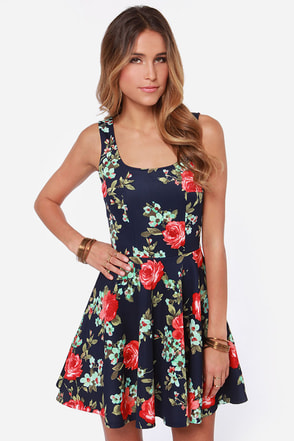 LULUS Exclusive Home Before Daylight Navy Floral Print Dress