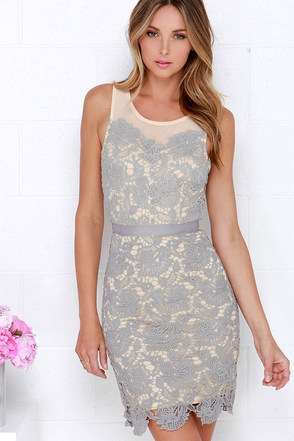 My Wildest Dreams Grey Lace Dress at Lulus.com!