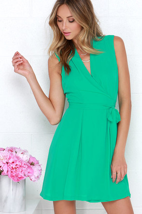 Sartorial Splendor Green Wrap Dress at Lulus.com!