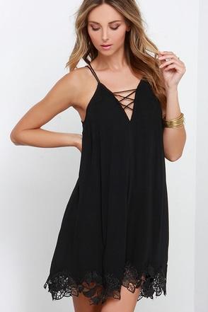 Crisscross the Divide Black Dress at Lulus.com!