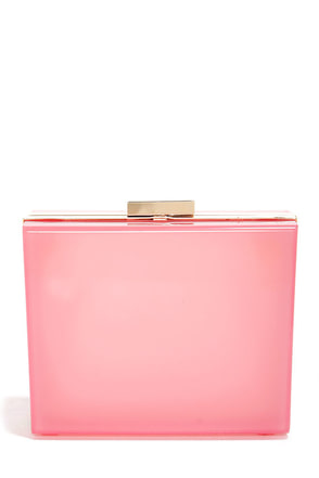 Sheer Joy Pink Lucite Clutch