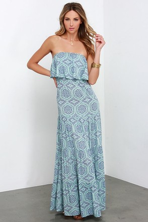 Don't Mandala if I Do Strapless Blue Print Maxi Dress at Lulus.com!