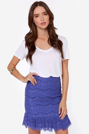 Darling Isabella Royal Blue Lace Skirt