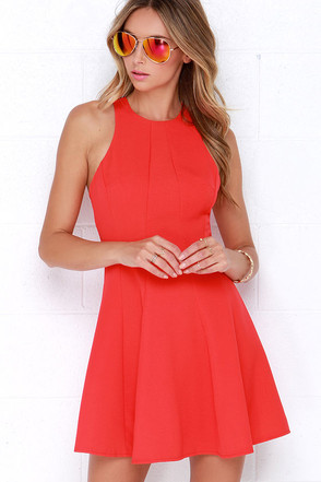 Flare Grounds Coral Red Dress at Lulus.com!