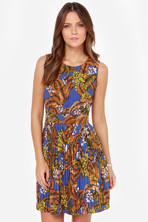 Darling Selena Blue Tropical Print Dress