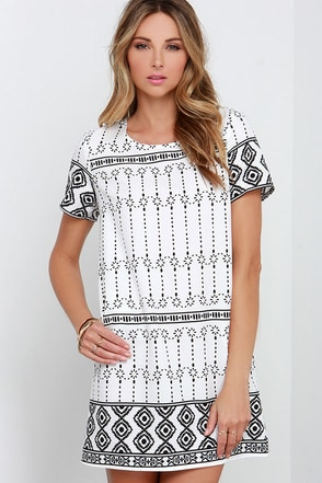 Graphic Prince Ivory and Black Shift Dress at Lulus.com!