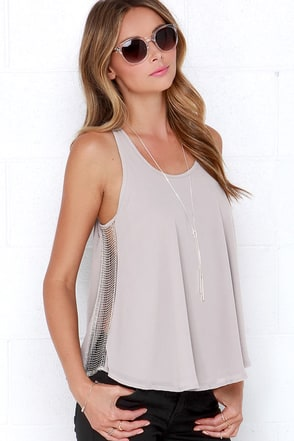 Gleam with it Light Grey Beaded Sleeveless Top at Lulus.com!