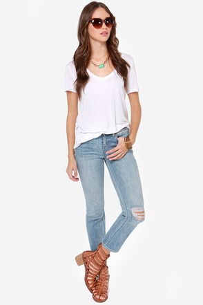 Dittos Rhonda Distressed Cropped Jeans