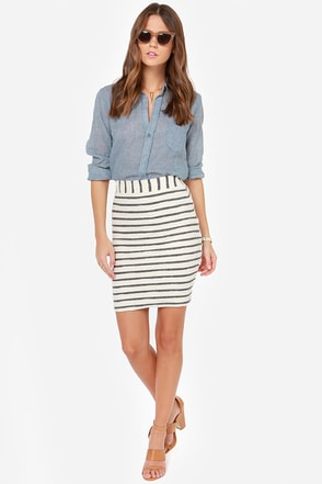 JOA Lines of Duty Cream Striped Pencil Skirt