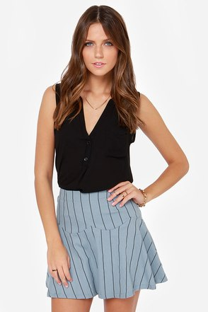 JOA Fresh Start Blue Striped Skirt