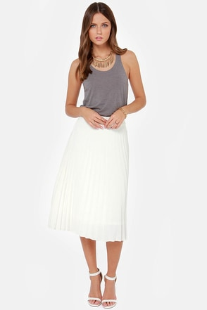 JOA Pleat Guilty Ivory Midi Skirt