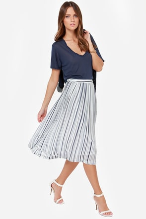 JOA Two-Way Pleat Navy Blue and Ivory Midi Skirt