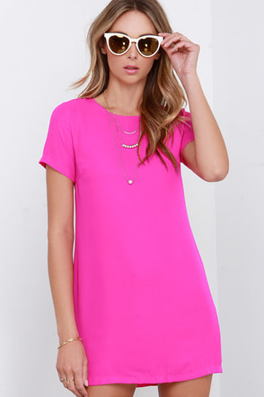 Matter of Fact Magenta Shift Dress at Lulus.com!