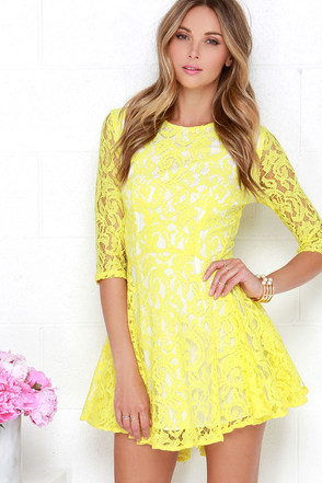 Sunshine Seasons Yellow Lace Skater Dress at Lulus.com!