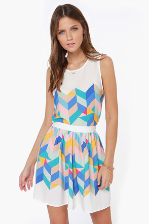 Geometric Pick Ivory Print Skirt