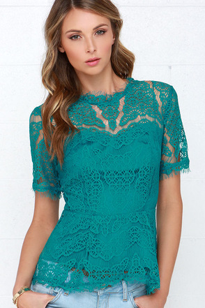 Vine Leaves Teal Lace Top at Lulus.com!