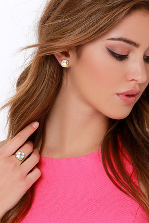 Teamo Supremo Gold Rhinestone Earring and Ring Set at Lulus.com!