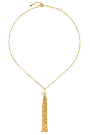 Bait and Tassel Gold Pearl Necklace at Lulus.com!