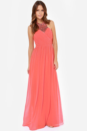Little Mistress Divine and Dine Beaded Coral Maxi Dress