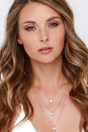 Haute Headquarters Gold and Rhinestone Layered Necklace at Lulus.com!