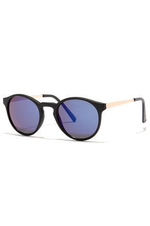 Shade Ya Look Black and Blue Sunglasses at Lulus.com!