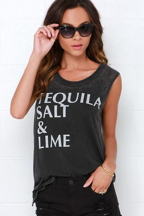 Chaser Tequila Salt and Lime Washed Black Top at Lulus.com!