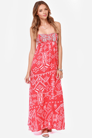 Billabong Dreamed of You Red Print Maxi Dress