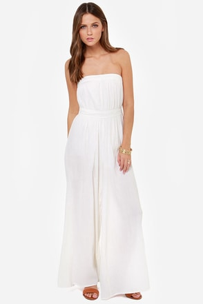 Billabong Endless Beach Strapless Ivory Jumpsuit