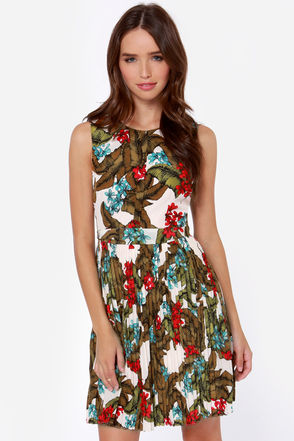 Darling Selena Ivory Tropical Print Dress
