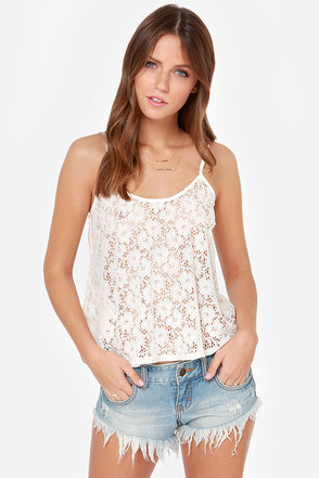 Lucy Love Solid Capri Ivory Lace Tank Top