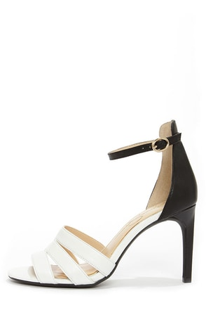 Jessica Simpson Maselli Soft White and Black Ankle Strap Heels
