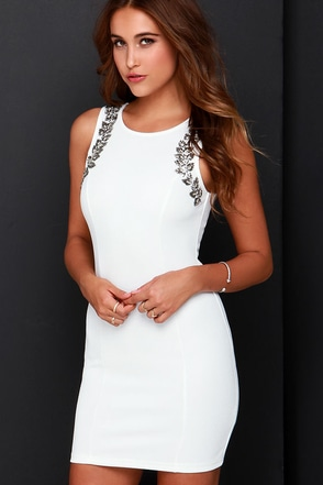 Ignite the Night Ivory Beaded Dress at Lulus.com!