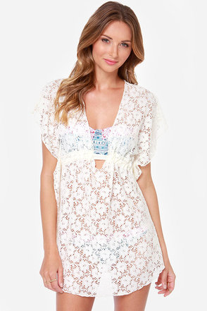 Lucy Love Bliss Cream Lace Cover-Up