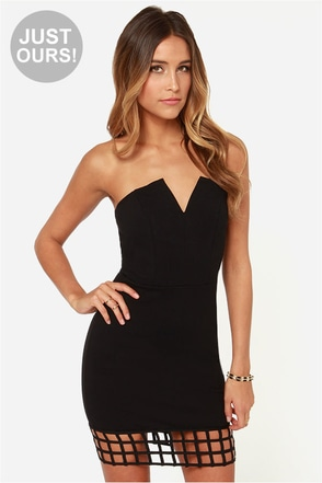 LULUS Exclusive Grid Point Average Strapless Black Dress