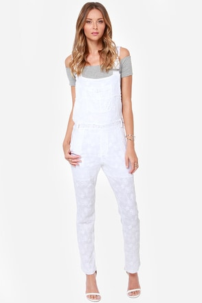 Lucca Couture Bloom Shaka Laka White Lace Overalls