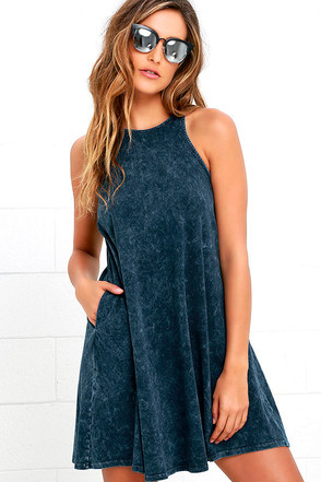 Best Coast Washed Navy Blue Dress at Lulus.com!