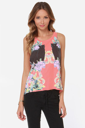 Chaser Mirrored Panthers Print Muscle Tee