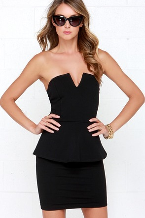 Salt-N-Peplum Black Peplum Dress at Lulus.com!