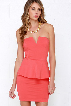 Salt-N-Peplum Coral Peplum Dress at Lulus.com!