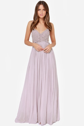 Blooming Prairie Crocheted Dusty Lavender Maxi Dress