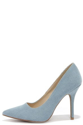 Wild Diva Lounge Lovisa 01 Denim Pointed Pumps at Lulus.com!