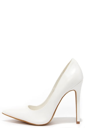 Click Your Heels White Pointed Pumps at Lulus.com!