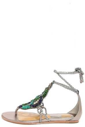 Dolce Vita Aldine Dark Silver Leather Beaded Sandals