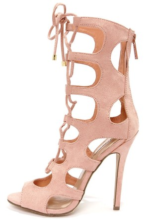 Roma 31 Nude Cutout Lace-Up Booties
